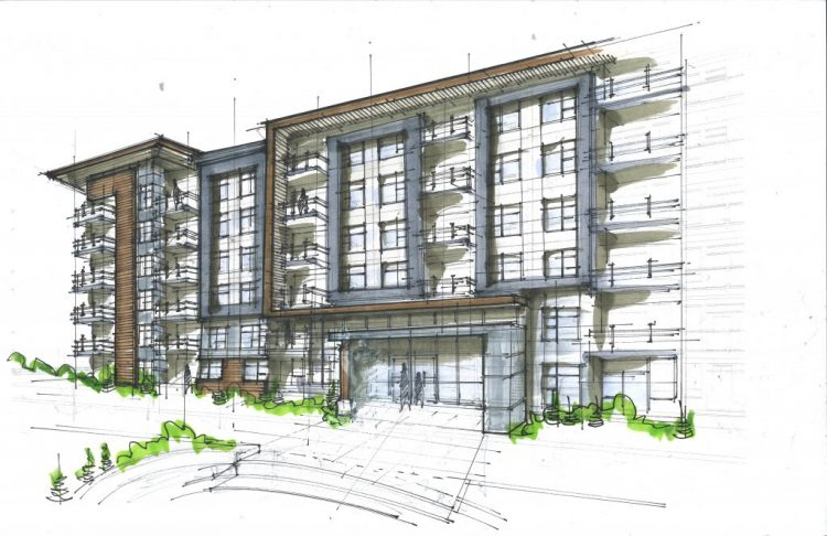 Architectural design renderings for the University District Development in Abbotsford