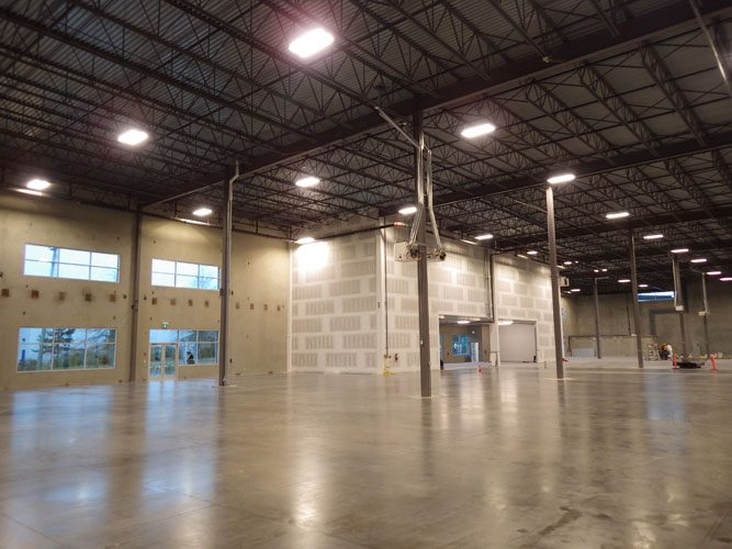 inside view of the new apex warehouse building in langley