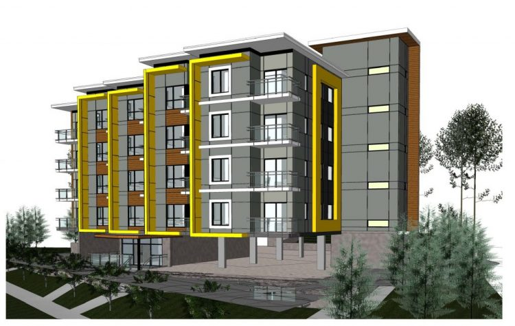 Architecture rendering of abbotsford apartment building on George Ferguson Way