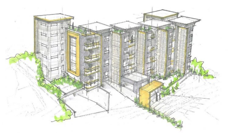 Architecture drawing of abbotsford apartments on George Ferguson Way