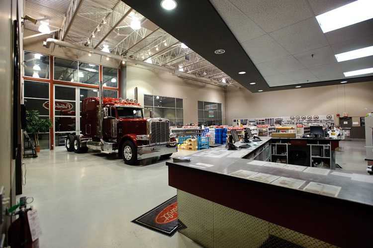 inside view of the peterbilt truck dealership in abbotsford, bc