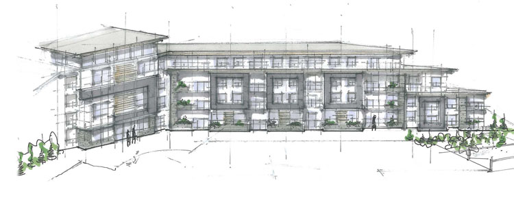 Architecture design drawings for Peterson Landing Apartments in Kamloops, BC