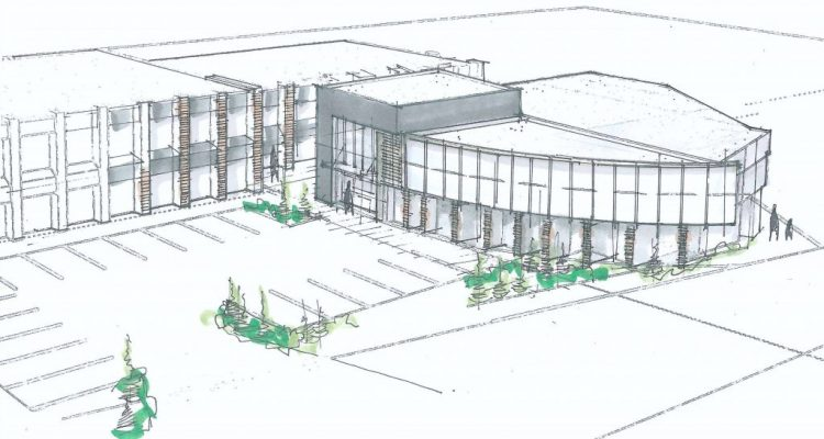 architectural drawing for abbotsford office building on south fraser way