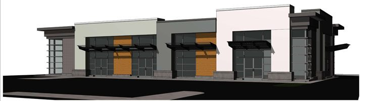 Commercial building architecture rendering in Abbotsford