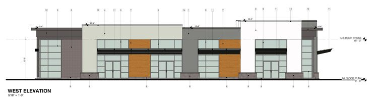 Architectural drawing of a commercial building in abbotsford