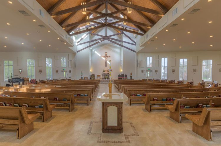 interior architecture for st. james catholic church in abbotsford
