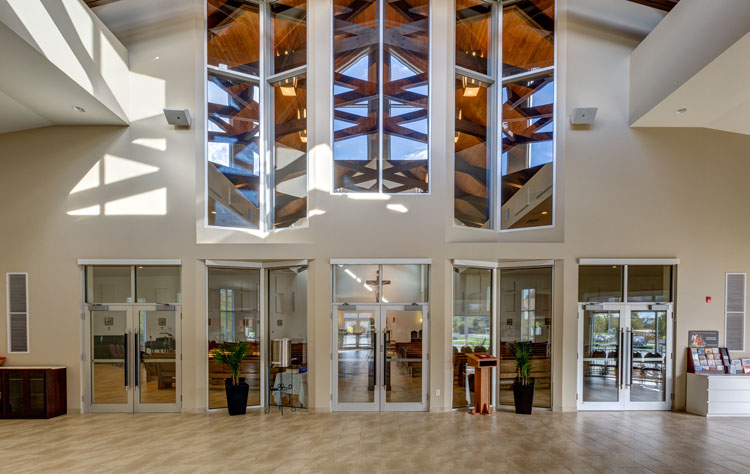 Interior design of the st. james catholic church in abbotsford