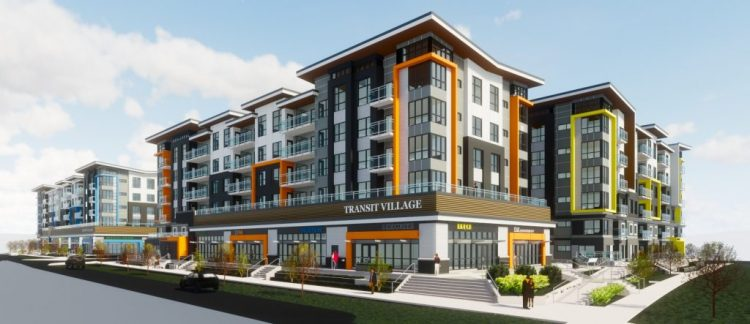 Surrey architectural design rendering of scott road transit village